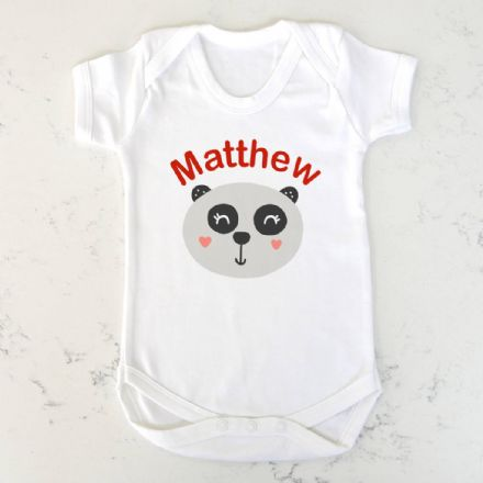 Personalised Panda Baby Vest 0 To 24 Months